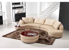Contemporary Beige Leather Sectional Sofa and Ottoman