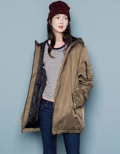 Pull&Bear - woman - jackets - teen long bomber jacket - khaki - 05715311-V2015