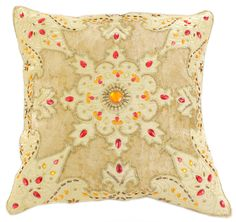 This gorgeous #pillow cover has been made in India and features colorful beads, smooth velvet patches, and sequins. Fits all 16x16 size pillows to transform your ordinary pillow into a piece of art!