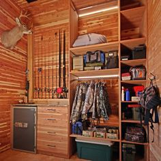 Mud Room Hunting Design Ideas, Pictures, Remodel, and Decor--- gun rack instead of fishing poles, and not so much wood