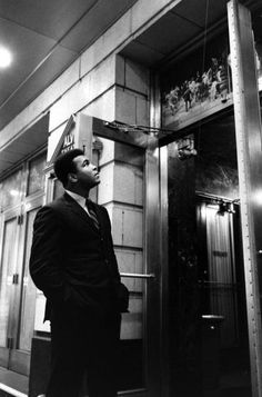 <strong>Not published in LIFE.</strong> Muhammad Ali outside the Alvin Theater where James Early Jones is starring in the play <em>The Great White Hope</em>, New York, 1968.