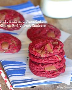 Malt Ball and Chocolate Chunk Red Velvet Cookies from Picky Palate