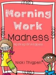 Morning Work Madness Giveaway!! Enter for your chance to win 1 of 2. Morning Work Madness  (30 pages) from MrsThigpensKindergarten on TeachersNotebook.com (Ends on on 08-19-2015) Need something easy for Morning Work at the beginning of the year! This pack focuses on color words and builds up to sight words, along with numbers, counting, and shapes! Perfect for the beginning of the year!.