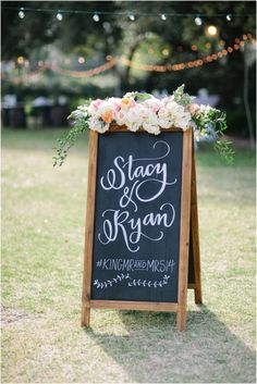 Custom Instagram Chalkboard  Floral Design: Evan and Company  Photo: Kim Box Photography Lettering: Poppy Pedals