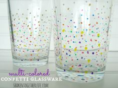 Pretty polka dots!  DIY confetti glassware tutorial at shakentogetherlife.com