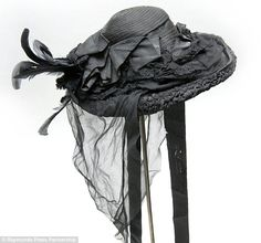 Queen Victoria's mourning outfit emerges for sale. including her skirt with waist and monogrammed silk bloomers - wedding veil photography Queen Victoria Prince Albert, Victoria And Albert, Queen Victoria Descendants, Mourning Dress, Victorian Hats, Mourning Jewelry, Cool Hats, Historical Clothing, Vintage Outfits