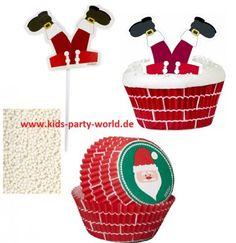 Weihnachtsmann Muffin Deko Set