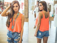 Get this trendy Layered Tank Top in Neon Coral from Entourage for JUST $25! (Available in other colors) #shopentourage