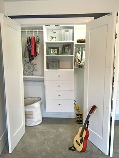 Modular Reach in Closet design featuring a Double Hanging Unit, Tall Hanging Unit, Shelf Unit on top of a drawer Unit Modular Closet Systems, Modular Closets, Reach In Closet, Custom Closets, Drawer Unit, Design Your Own, Drawers, Kitchen Cabinets, Shelves