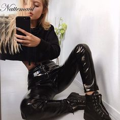 $31.35 - Awesome NATTEMAID Autumn Winter Women Clothes Skinny PU Leather Pencil Leggings Sexy Thin Fleece Trousers Ladies Slim Faux Leather Pants - Buy it Now!