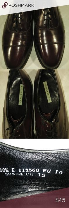 Florsheim Men's Burgundy 10.5E Dress Shoes Florsheim Burgundy Cap Toe Lace Up Oxford Shoes  Size 10.5E (Wide)  The Florsheim Edgar has been a wardrobe essential for generations of men. This dress shoe features a sleek, traditional cap toe.  The upper is genuine leather. The linings are breathable leather. The insole is a non-removable, fully cushioned footbed. The sole is genuine leather. Florsheim Shoes Oxfords & Derbys