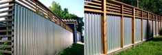 a cool and different fencing idea using corrugated or galvanized  metal and wood.