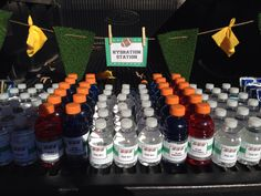 This was the hydration station. Home made flag banners. Made from carpet grass. Flag Football Party, Football Birthday, Wiffle Ball, Sports Party, Flag Banners, Birthday Parties, Homemade, Celebrations, Grass