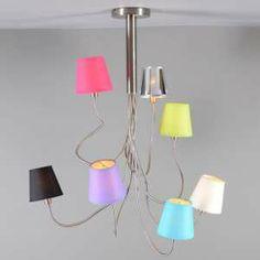 Lámpara colgante BRACCIA 7 acero - El diseño flexible permite que esta lámpara tenga muchas posibilidades de diseño. Juegue con la forma y, si lo desea puede escoger entre nuestras bonitas cubiertas para combinar este modelo.