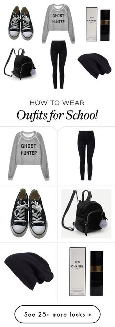 """""""school outfit #65"""" by hoodchick on Polyvore featuring Wildfox, J Brand, Converse, Chanel and Halogen"""