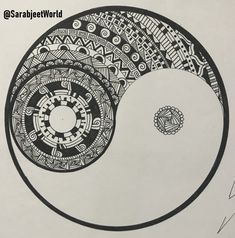 How To Draw Best Yin-Yang Complex Zentangle Design Tutorial For Beginners, Easy Drawing Step By Step Easy Pen Drawing, Easy Mandala Drawing, Mandala Doodle, Simple Mandala, Mandala Art Lesson, Doodle Art Drawing, Mandala Artwork, Zentangle Drawings, Drawing Lips