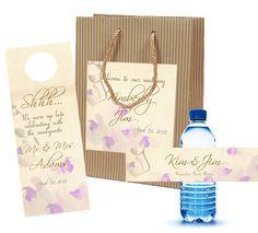 $70 for 20 Wedding Welcome Bag Sets =  bags, door hangers, bottle labels #welcomebagset #weddingwelcomebag #countrywedding