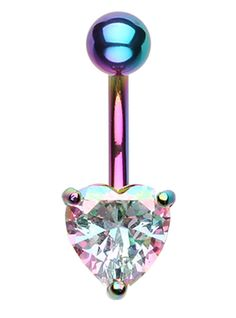 Colorline Heart Prong Sparkle Belly Button Ring - 14 GA (1.6mm) - Light Rainbow - Sold Individually
