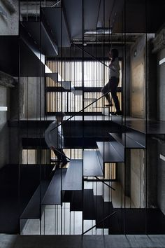 Architecture we like / Interior / Stairs / Black / Wood / Nightlife / florian-busch-architects-K8-in-kyoto-japan-wooden-louver-facade / at Designboom