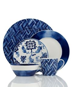 Lauren Ralph Lauren Dinnerware, Mix and Match Somerset Island Collection - Fine China - Dining & Entertaining - Macy's Blue And White China, Blue China, Love Blue, Navy And White, Fine China Dinnerware, Casual Dinnerware, Dinnerware Sets, Blue Dishes, White Dishes