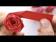 Cómo hacer rosas con una tira de papel (tipo quilling) - YouTube