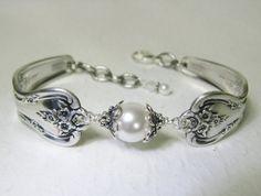 Silver Spoon Bracelet White Pearls Sterling by SpoonfestJewelry