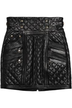 Balmain | Quilted leather mini skirt | NET-A-PORTER.COM