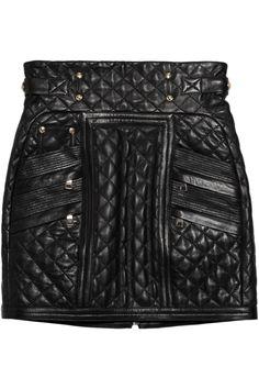 Balmain|Quilted leather mini skirt|NET-A-PORTER.COM