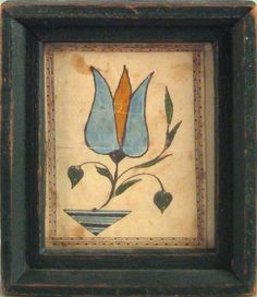 Southeastern Pennsylvania watercolor bookplate, early/mid c., of a blue tulip, 3 x 2 Folk Art Flowers, American Art, Primitive Folk Art, Art Painting, Flower Art, Watercolor Paintings, Painting, Art, Decorative Painting