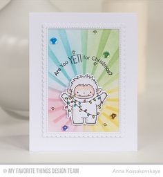 Beast Friends Stamp Set and Die-namics, Stitched Rectangle Scallop Edge Frames Die-namics, Sun Ray Stencil - Anna Kossakovskaya  #mftstamps