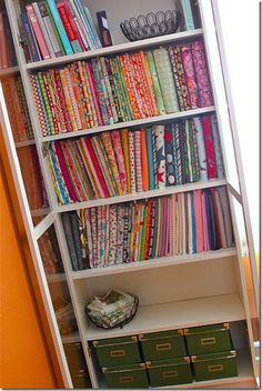 Mini bolt fabric storage - much better than stacked on top of each other