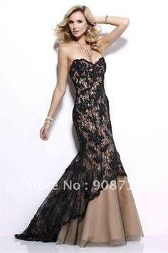 Black Lace over Champagne Taffeta Strapless Mermaid Prom and Evening