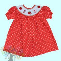 Short Sleeve Bishop Dress with apples smocked along the neck line Visit www.hidenseekboutique.com to order