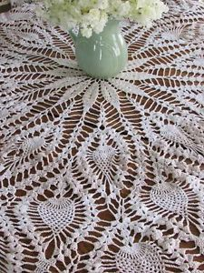 """Gorgeous Intricate Vintage Crocheted Lace Tablecloth 63"""" Strawberry Design Round 
