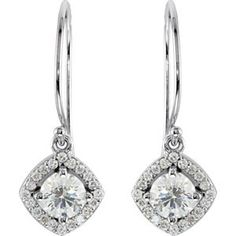 14K Yellow Gold 3/4 ct tw Diamond Halo Style Earrings with Cushion Frame: 3/4 CT TW