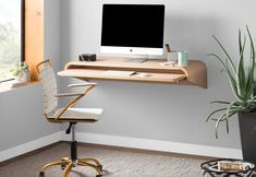 Get inspired by Modern Office Design photo by Room Ideas. Wayfair lets you find the designer products in the photo and get ideas from thousands of other Modern Office Design photos. Wall Mounted Desk, Wall Desk, Desk In Living Room, Living Room Furniture, Minimalist Desk, Contemporary Desk, Floating Desk, Modern Office Design, Home Office Space