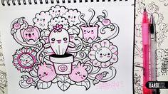 ♥ Kawaii Flowers ♥ Hello Doodles ♥ Easy Drawings by Garbi KW