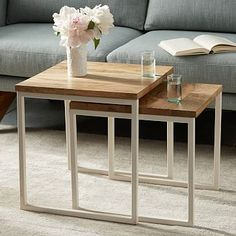 Sale $200 - Box Frame Nesting Tables - Raw Mango/White #westelm