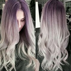 """""""LOVE THIS ... thanks for tagging #behindthechair @sammiiwang! ;) violet to silver Root@schwarzkopfusa 9.5 29, 099, 7 vol End @kenraprofessional 10sm, 9vm…"""""""