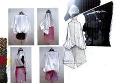 Fashion Sketchbook - fashion design process with sketching & draping development; portfolio // Kieran Ho