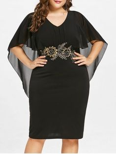 8e6ce84f716bf Shop for Black 4x Plus Size V Neck Capelet Dress online at  24.31 and  discover fashion at RoseGal.com Mobile