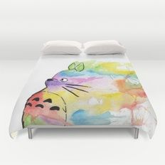 Duvet Cover featuring My Rainbow Totoro by Scoobtoobins
