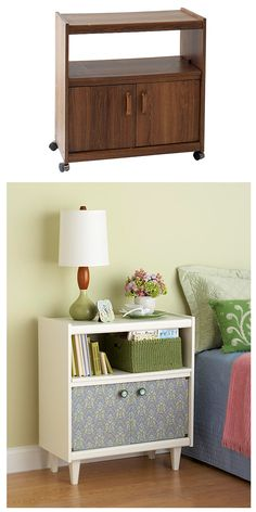 tv stand to side table - tapisserie sur les portes