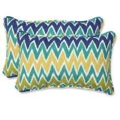 Attractive Pillow Perfect U0027Zuluu0027 Blue/ Green Outdoor Throw Pillows (Set ...