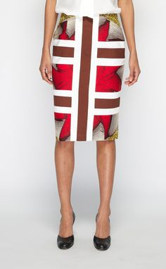 colorful pencil skirt...combined with either a white shirt or any color found in that skirt