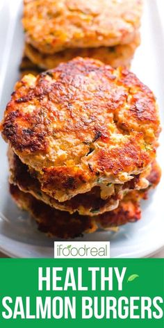 Juicy Salmon Burgers with simple ingredients and pan fried until golden. Serve on a bun, with mango slaw or freeze for later. Your kids will lick the plates! Healthy Freezer Meals, Healthy Family Meals, Healthy Breakfast Recipes, Healthy Recipes, Fish Recipes, Seafood Recipes, Healthy Salmon Burgers, Salmon Patties Recipe, Food Website
