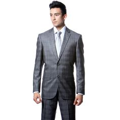 New style 1920s menswear: Zonettie by Ferrecci Men's Slim Fit Grey Plaid 2-piece Suit