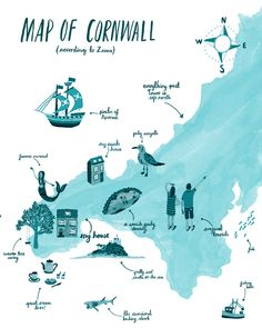 A map of cornwall, according to me! Made this for my website so people can see where I grew up!