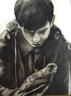 Black and White watercolour painting, A5 in size. I started looking at 'Kes' the film and the meanings behind it. In order to get a good feel for the project I started painting stills from the film.
