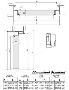 Verifica dimensioni e misure porta Filomuro Comeca Group, all'interno schemi dettagliati dei telai e delle dimensioni disponibili.